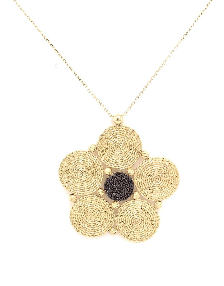 14crt Yellow Gold Floral Pendant With Chain